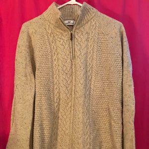 Beige Vineyard Vines Lambswool 1/4 Zip Sweater